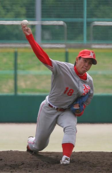 力強い速球と鋭いスライダーが武器の蕭(奈良産大)は、果たしてメジャー級の投球を見せられるか