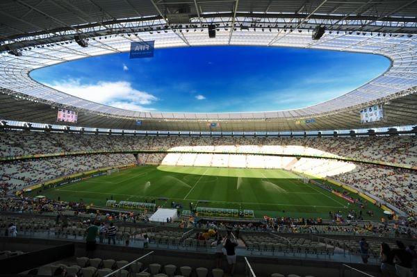 フォルタレザのスタジアム「カステロン」。本大会の会場の中では最も早くに完成した