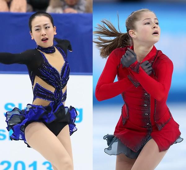 金メダルを目指す浅田(左)。地元ロシアの15歳リプニツカヤは有力なライバルだ/写真左:坂本清、同右Getty Images