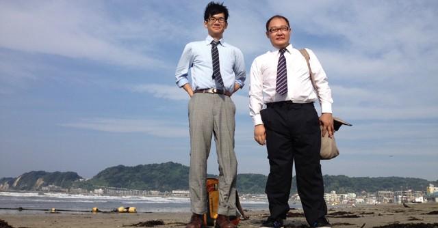 日本エクストリーム出社協会共同代表の天谷窓大(右)さんと椎名隆彦さん
