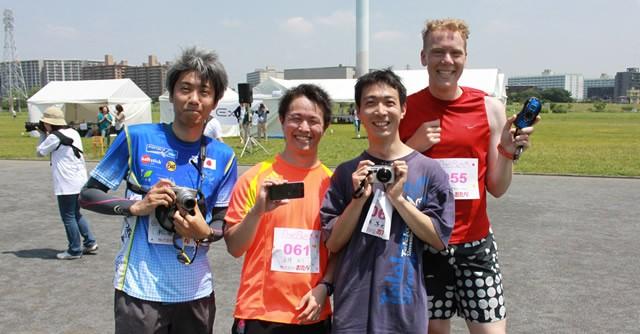 "10kmランの""トップ""勢。(左から)4着の松浦立さん、2着の善積祐介さん、1着の平塚篤史さん、3着のPeter Ablaham Fukuda Loewiさん"