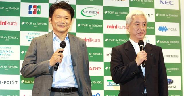ヤフーの宮坂社長(左)は「被災地のみなさんが沿道から応援してくれる。涙が出る思いだった」と第1回大会を振り返る