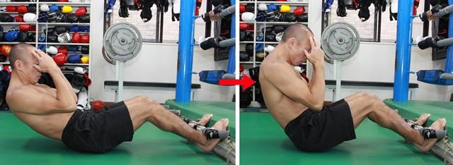 ノーマルな腹筋運動、反動や腕の力を使って体を起こすことは厳禁!