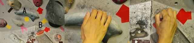 左:さまざまなホールドが存在する/中央:Aはクリンプ(カチ持ち)という握り方/右:Bはオープンハンド(ガバ持ち)という握り方