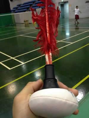 むむ、この用具は? 全体の高さは25cmほど。赤い羽根の付いたインディアカボールだ
