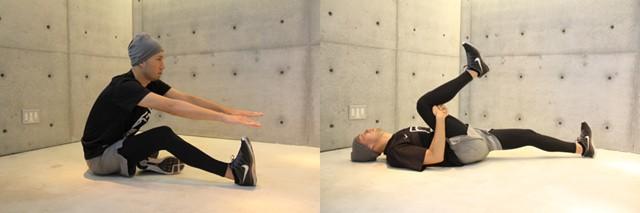 左:膝を曲げることでさらに骨盤を意識できる/右:臀部を伸ばす方法