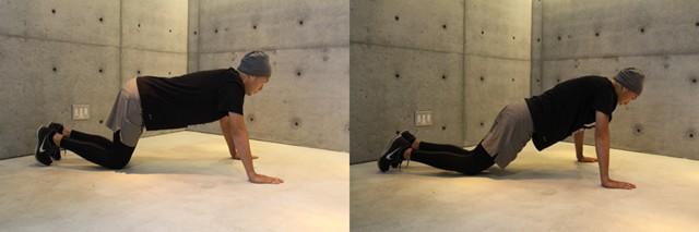 左:膝を曲げて楽にできる腕立て/右:膝を少し引いて少し負荷をかける