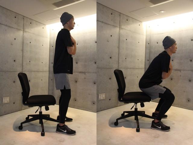 左:椅子の少し前に普通に立つ/右:椅子に座るだけで腰主導のスクワットになる
