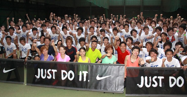 大学生200人はみんな、トップアスリートたちとスポーツを心から楽しんだ様子だった