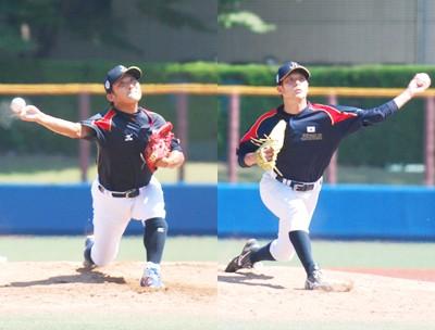 プロ2軍チームを相手に好リリーフを見せた幸松司(左)と今村幸志郎