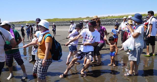 親子連れに混じって懸命に綱を引く、引く、引く!