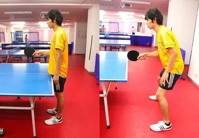左:テーブルに近く膝が伸びている悪い姿勢/右:良い姿勢