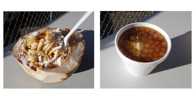 ココナツのお刺身と、地元の人に人気のおやつ「タホ」