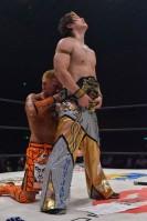 戸澤との同期対決を制しドリームゲート王座V3を達成したハルク。試合後は互いに健闘を讃えあった