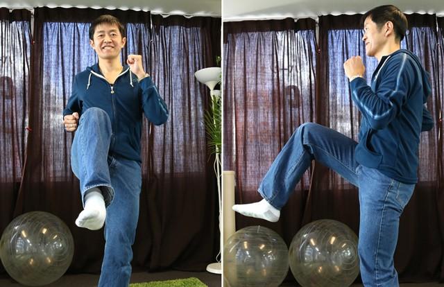極端な話、股関節がこうして130度ぐらい上がってしまえばジーンズで走っても問題ないのです