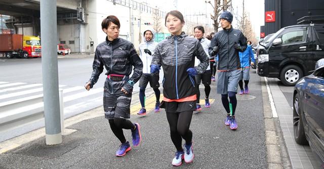西谷綾子さん(前列右)らが試走会に参加
