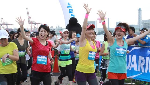 カラフルなウェアを着て、元気に走ろう! 写真は2014年9月開催の第5回大会