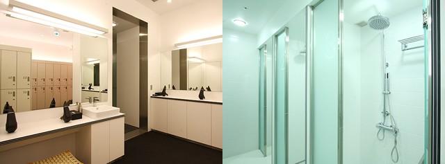 シャワーブースは男女各8個。女性にうれしいパウダールームも完備