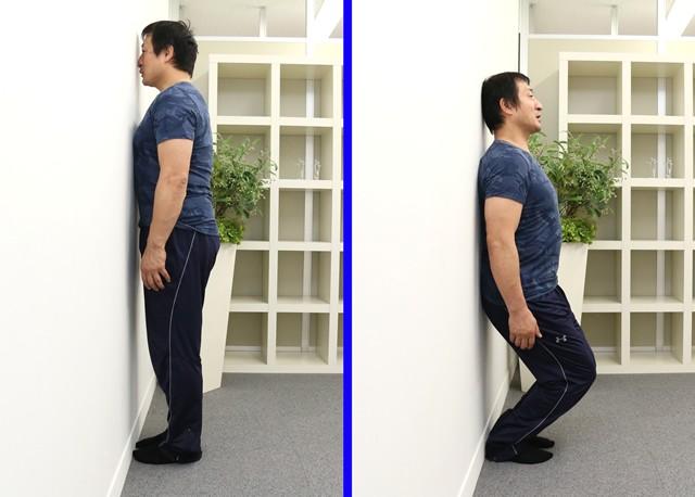 画像・左の体勢から楽にしゃがめたらAタイプ、画像・右のように楽にしゃがめたらBタイプ