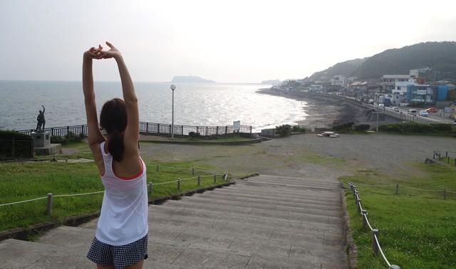 休憩した公園からは江ノ島を望むことができた