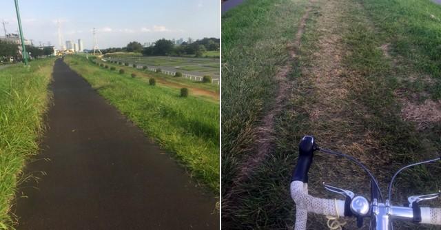 左:整備された道は走りやすい/右:舗装されていない道も