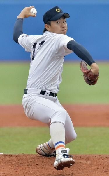 181センチの大型左腕・柳川。ストレート、変化球を低めに集める丁寧な投球が身上