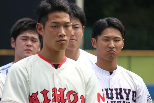 日本代表選考合宿に参加している中京学院大・吉川(右)と日大・京田。身体能力を生かしたプレーが身上の吉川と堅実なプレーの京田とプレースタイルは違うものの、お互いを認め合う