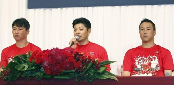25年ぶり7度目のリーグ優勝を果たした広島。緒方監督らが優勝会見で喜びを語った