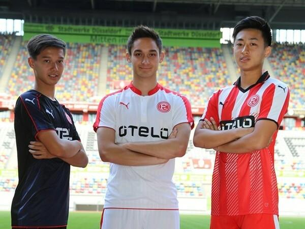 フォルトゥナには東京五輪世代である日本人選手が3名所属している。左からアペルカンプ真大(U−17)、金城ジャスティン俊樹(トップチーム)、伊藤遼哉(U−19)