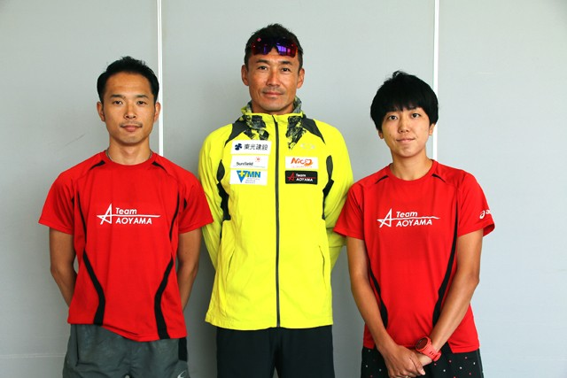 Team AOYAMAの(左から)郷間コーチ、青山コーチ、永尾選手