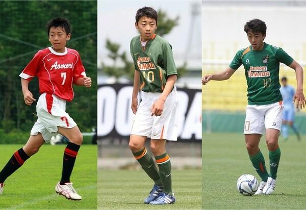 高橋は元から基礎技術は高く、真面目な選手だったものの、小中時代は決して目立つタイプではなかった(写真は左から小学校時代、中学時代、現在のもの)
