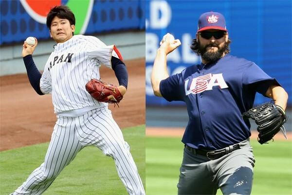 準決勝の先発を託された日本・菅野(写真左)とアメリカ・ロアーク
