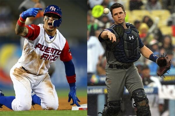 今大会4盗塁を記録しているバエス(写真左/Photo by Alex Trautwig/WBCI/MLB Photos via Getty Images)を中心とした機動力野球を、ポージー(Photo by Matt Brown/WBCI/MLB Photos via Getty Images)らアメリカ捕手陣の強肩が封じられるか!?