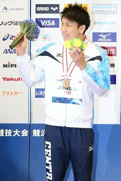 身長185センチの大型選手、大学3年の松元克央。初の世界水泳へ臨む