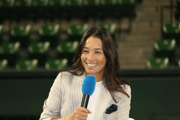2度目の現役引退を表明している伊達公子が7日、東京・有明コロシアムで記者会見を行った