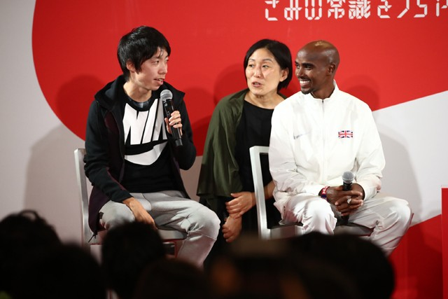 ハーフマラソン日本記録を更新したばかりの設楽選手(左)も「35キロ以降にある壁」をマラソンの課題と話しました