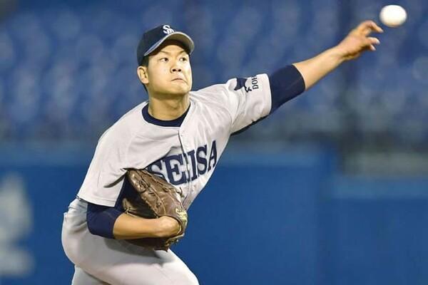 北海道勢初の決勝進出に大きく貢献した星槎道都大の左腕・福田。