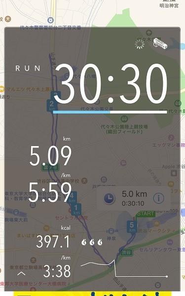 ランのトレーニングも、最初はベーシックレベルから。約5.0kmを、ゆっくりにこにこペースで。