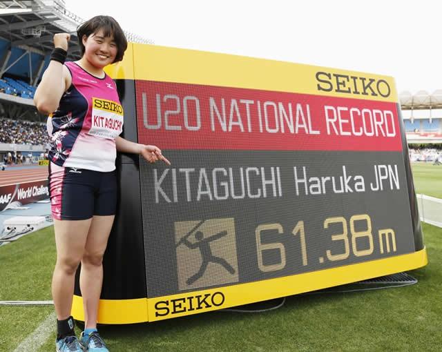 陸上女子やり投げのホープ、北口榛花。写真は2016年5月、61メートル38のジュニア日本新をマークした北口