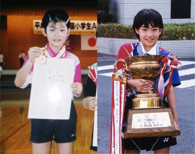 2000年の高橋礼華、10歳(左)/2003年の松友美佐紀、11歳(右)