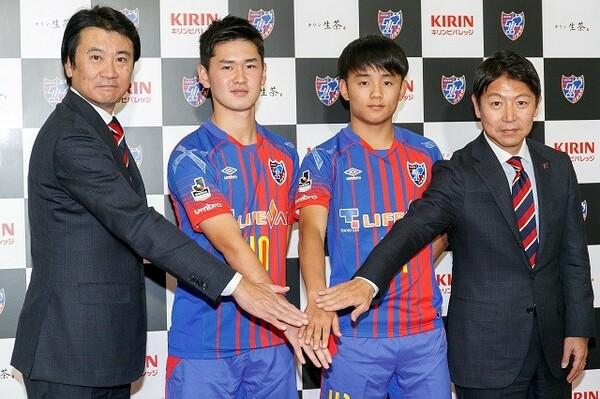 以前はFC東京のGMを務めていた立石CEO(右端)。会見では「クラブはこの街のものだと思っている」と強調した