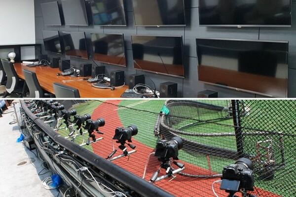 KBOビデオ判読センター(写真上。写真:韓国野球委員会)とバックネット裏に設置された4D replay用のカメラ(下。写真:ストライク・ゾーン)。最小30台のカメラがとらえた映像を瞬間的に機械が合成して一連の動きを立体的な映像