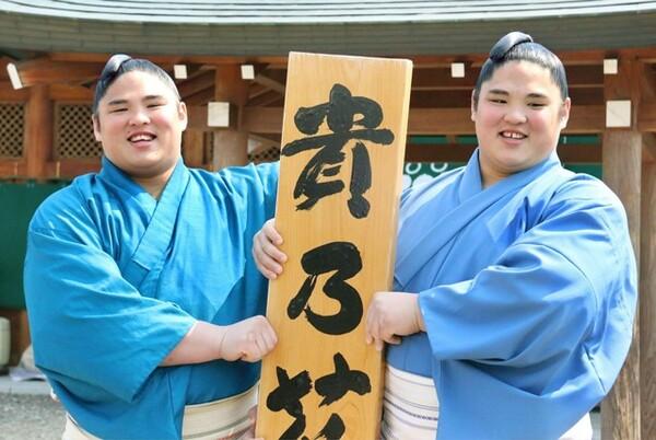 17年3月場所で新十両昇進を決めた貴源治(右)。兄・貴公俊も今場所から関取となった