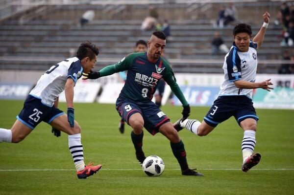 鳥取のブラジルトリオのひとりであるレオナルド。この日は敗れたが、今季6ゴール目をゲット