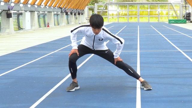 大迫傑選手が実践する動的ストレッチ 歩幅が広がる内ももストレッチ