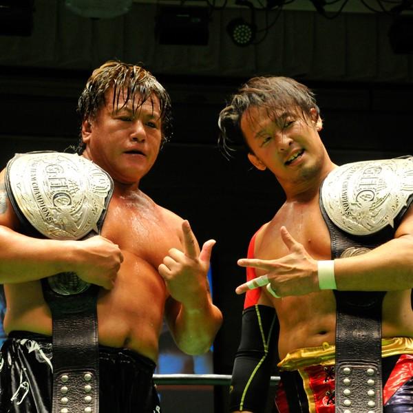 丸藤(右)、齋藤のベテランコンビがGHCタッグ王座を奪取