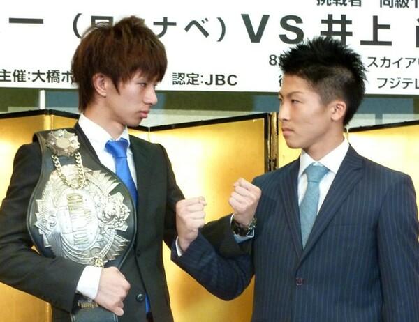 2013年6月、日本ライトフライ級タイトルマッチの記者会見を行う田口と井上(写真左より)
