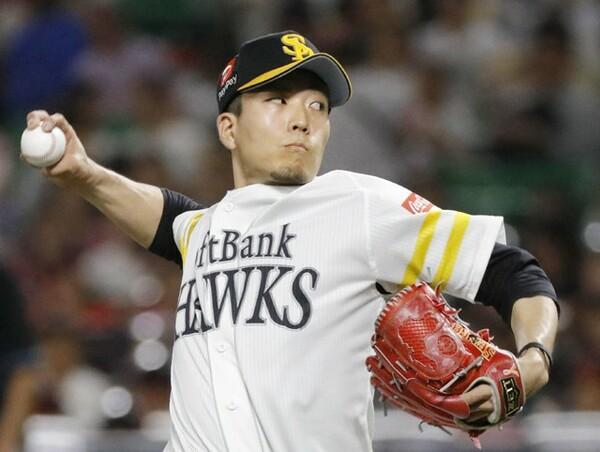 パ・リーグ投手部門で選出のソフトバンク・千賀滉大。両リーグトップの月間43奪三振をマーク
