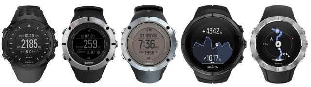 左より、 Ambit、Ambit 2、Ambit 3、Spartan Ultra、Spartan Trainer Wrist HR