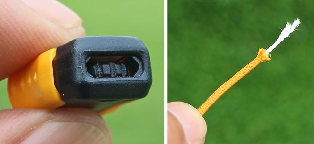 (左)ギアが噛んでしっかり止まるロックパーツ。 (右)芯材入りで伸びない、切れないシューレース。